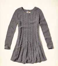 Hollister HCO/Abercrombie Women's gray Cable knit sweater Dress S New RARE