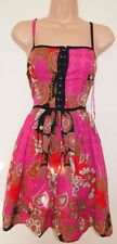 BE BEAU PINK FLORAL PAISLEY PRINT SKATER CURVY FLIPPY FULL SEQUINS DRESS 10 S
