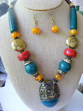 ETHNIC INDIA  EXOTIC BALI SILVER GLASS BEADED NECKLACE  PENDANT NECKLACE SET