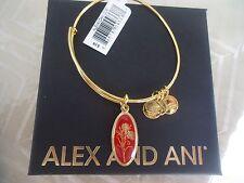 Alex and Ani LOVE POTION CARNATION Charm Bangle Yellow Gold New W/Tag Card & Box
