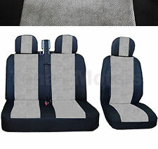 OPEL VAUXHALL VIVARO Bus Box Seat Covers 2+1 Headrest Black /Grey DE LUX FABRIC
