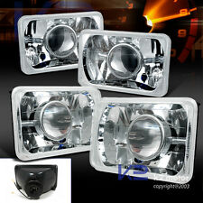 4pc 4X6 Chrome Diamond Cut Projector Headlights+Conversion Kit