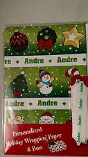 Personalized gift wrap wrapping Christmas xmas NIP Andre green wreath star