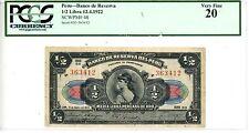Peru ... P-48 ... 1/2 Libra Peruana de Oro ... 1922 ... *VF* ... PCGS20 . Scarce