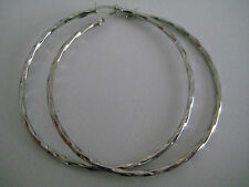 9ct white gold large loosely twisted 50mm hoop earrings ON PROMOTION