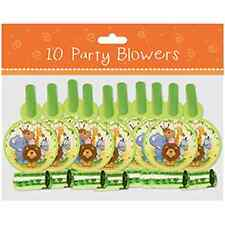 10x Animal BLOWOUTS toy party bag filler children SAFARI ZOO BLOWERS