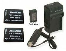 TWO 2 Batteries + Charger for Panasonic DMC-TZ7A DMC-TZ7T DMC-TZ7R DMC-TZ7EB-R