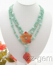 N0903031 Amazonite&Carnelian Flower Necklace-Jasper Toggle Clasp