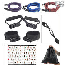 100lbs Resistance Band Set Yoga Abs Exercise Fitness Tube Workout Extra Heavy