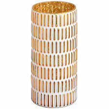 LARGE VASE GOLD AND WHITE PATTERNED CANDLE HOLDER - BEAUITFUL ACCESSORY FOR HOME