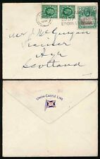 GB + ST HELENA 1937 on UNION CASTLE LINE ENVELOPE to SCOTLAND