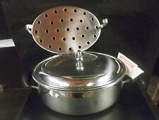LAGOSTINA-Casseruola ovale acciaio inox 18/10 con coperchio e griglia-Saucepan