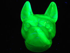 Blue Vaseline uranium glass Boston Terrier french bulldog candy container cobalt