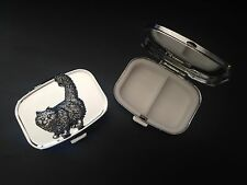 Standing Cat A40 English Pewter on Emblem Rectangular Travel Metal Pill Box
