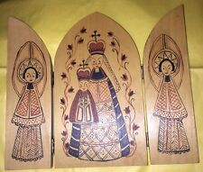 "Wooden Triptych Icon  9"" 3 Panel Vtg Russian Mary Jesus Angels"