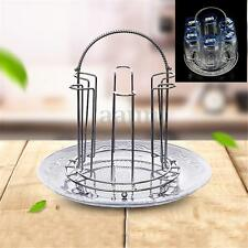 Stainless Steel 6 Glass Stand Mug Tree Holder Hanging Drying Storage Cup Rack