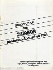 Sonderdruck Photokina 1984 Fotopapiere Agfa Kodak Labaphot Tetenal Tura Labor