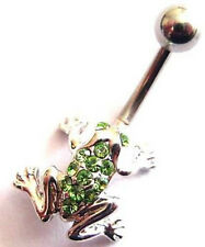 Frog Belly Bar - with Green Crystals - 10mm Length Bar