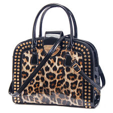 Stylish Women Leopard Print Bag Top Handle Crossbody Handbag 3 Compartment Black