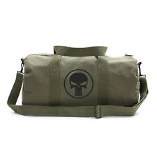 Vintage Style Army Sports Green Canvas Duffel Bag Black Punisher Skull Ring