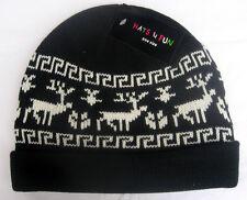 Mütze mit  Aufschlag Norwegermuster schwarz Strickmütze mit  Fleecefutter