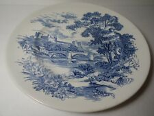 """Vintage Blue Countryside Scene Wedgewood Co China England 9 3/4"""" Luncheon Plate"""