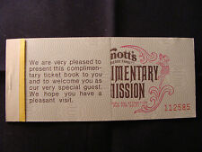 Knott's Berry Farm complimentary attraction admission ticket book