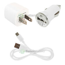 USB Type C Cable+Car+Wall Home Charger Mini for ZTE Imperial Max 2 / Zmax Pro