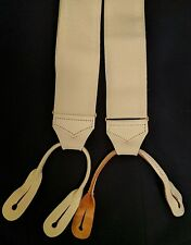 Mens White Button Braces with Leather Ends