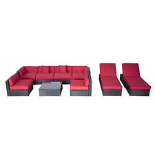 Outsunny 9 Pc Outdoor Rattan Sofa Wicker Sectional Patio Furniture Lounge Chair