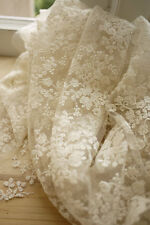 Ivory Lace Fabric Floral Embroidered Tulle Fabric Wedding Dress Bridal Lace