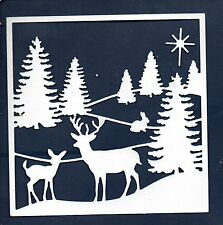 NEW LARGE  DEER IN WOODLAND SCENE FRAME DIE CUTS - WINTER TREE CHRISTMAS TOPPER