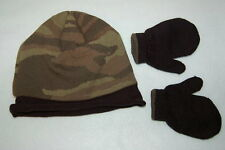 TODDLER BOYS Knit Double Layer FLEECE LINED HAT & Mittens CAMOUFLAGE Winter