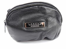 MENS LADIES SOFT BLACK REAL LEATHER COIN CHANGE POUCH PURSE WALLET 1465