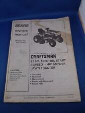 SEARS LAWN TRACTOR OWNERS MANUAL CRAFTSMAN 12 HP ELECTRIC START 6 SPEED 40""
