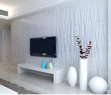 Luxury Wallpaper Roll Home Flocking Embossed Textured Lines Wall Paper Decor