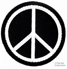 PEACE SIGN iron-on patch WOODSTOCK SUMMER OF LOVE black EMBROIDERED APPLIQUE