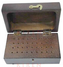 36 HOLES BR WOODEN BUR BOX HOLDS DRILLS BRUSHES ABRASIVES ROTARY FLEXSHAFT TOOLS
