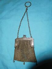 ANTIQUE STERLING SILVER MESH COIN PURSE ART DECO NOUVEAU UNIQUE VINTAGE ORNATE