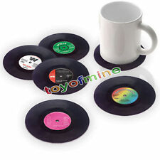 6PCS Round Vinyl Coaster Groovy Record Cup Drinks Holder Mat Tableware Placemat