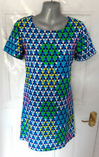 ❤ VERA & LUCY Lovely Size 10 Blue Green Yellow Pink Tunic Dress NEW FREE UK P&P