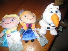 NEW Disney Store Frozen Elsa Anna and Olaf Plush Dolls Coin Purse Set