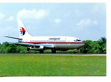 Malaysia Airlines-B737 Airplane on Runway-Aviation-Modern Advertising Postcard