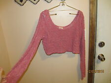 NEW STRETCH MOSSIMO CROP TOP BELLY SHIRT PINK SHEER LACE KNIT CROPTOP SIZE L