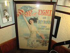 """RARE 1917 US WORLD WAR ONE POSTER """" FIGHT OR BUY BONDS THIRD LIBERTY LOAN 20X30"""