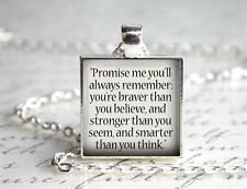 Winnie the Pooh Promise Me You Will Remember Quote Keychain Charm Pendant Gift