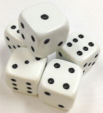 HOME GAME DICE - SET OF 5 NEW WHITE LARGE DICE 25mm DICE CASINO - FREE SHIPPING*