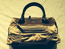 Tod's Fashionable Nylon Gold Party Bag With Brown Leather Trim Many Pockets