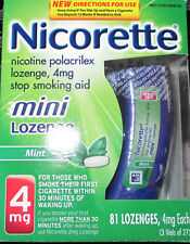 Nicorette Mini Lozenge 4mg Mint Flavor 81 Count  NEW IN SEALED FACTORY PACK