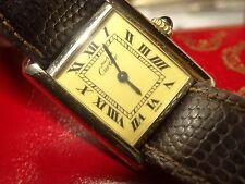 Ladies CARTIER 18K Vermeil Tank Watch w/Creme Roman Dial Cartier Band Box&Papers